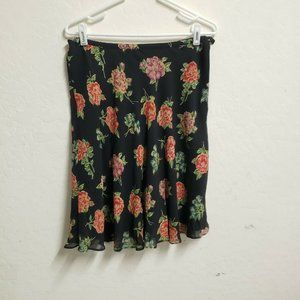 August Silk size 12 skirt black with orange flora